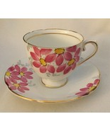 STANLEY CUP & SAUCER BONE CHINA ENGLAND PINK FLOWER GOLD GILT  COFFEE TEA - $72.08