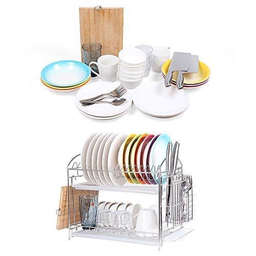NEX Dish Drainer 304 Stainless Steel Kitchen 2-Tier Dish Rack with Utensil Holde