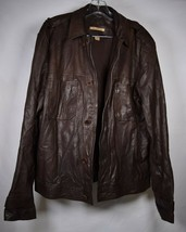 John Varvatos Mens Goat Skin Leather M-65 Field Jacket Button Down Brown 46 - $188.10