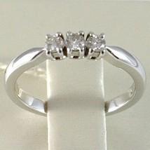 White Gold Ring 750 18K, Trilogy 3 Diamonds Carat Total 0.20, Shank Square image 2
