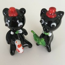 "Blown Handcrafted Glass Black Cat Figurines with Red Hats Pair 2 1/4"" Ch... - $8.80"