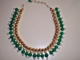 Ladies Vintage 1950's Green and Gold Tone Egyptian Inspired Collar Necklace - $49.99