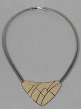 Vintage Trifari Art Deco Cream and Silver Bib Choker Necklace (18 in) - $36.00
