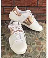Rampage Tennis Shoes 6 White Leather Like Bronze/Gold Contrast Trainers ... - $24.75