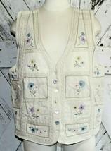 Vintage Keren Hart Linen Button Up Patchwork Floral Embroidered Vest Siz... - $14.85