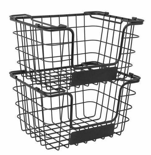 Wire Baskets Veggies Fruits Snack Pantry Stackable Rack w/ Chalk Label Set NEW