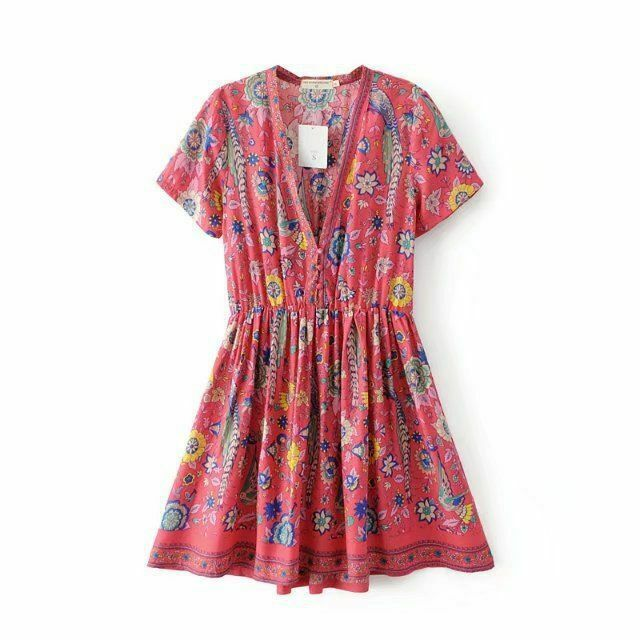 Boho Summer Vintage Floral Bird Print Mini Dress Short Sleeve V Neck Beach Dress