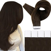 RUNATURE 20 Inches Tape in Human Hair Extensions Color 2 Dark Brown 50g 2.5g Per