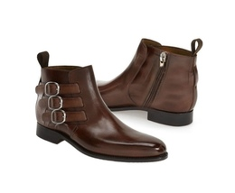 Men's Leather Buckle Side Zipper Boot, New Handmade Brown half Ankle Boot - $159.99