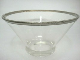 Dorothy Thorpe Large Salad Serving Bowl Clear Glass with Silver Band Rim... - $39.59