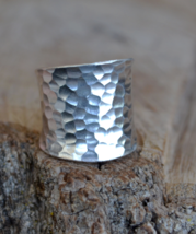Hammered silver ring, Wide silver ring, wide Boho ring,sterling silver r... - $39.99