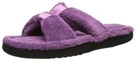 Isotoner Women's Signature  Microterry Satin X-Slide Slipper, Ultraviole... - $21.21