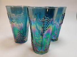 3 Vintage Indiana Blue Carnival Glass Harvest Grape 12 oz. Glasses Tumb... - $26.17
