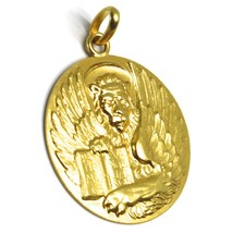 SOLID 18K YELLOW GOLD ROUND BIG MEDAL, SAINT MARK MARCO, DIAMETER 28mm LION BOOK image 2