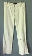 Express Design Studio Editor Pants Size: 4 White Leather Laser Cut Out Detail - $199.00