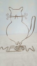 """CAT LOVER WIRE ART FAT CAT MEOW DESK TOP DECORATION, STAND, 9""""TALLL, SIL... - $12.86"""