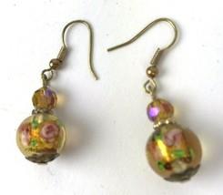 Vtg Floral Glass Dangler Earrings Bead Mod Statement Pierced Hippie Boho... - $11.83
