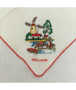 Vintage embroidered Holland country windmill scene red trim handkerchief - $19.75