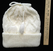 Winter Hat Toque White Knit Yarn Rolled Brim Bow w/ Tassel on Top Cap Ju... - $9.89