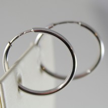 18K WHITE GOLD EARRINGS CIRCLE HOOP 22 MM 0.87 INCHES DIAMETER MADE IN ITALY image 2