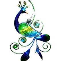 Painted Metal & Glass Peacock Garden Hanging Hummingbird Nectar Feeder image 2