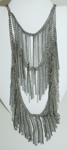 Silver Color Tri Tier Chain Necklace Extender Included Lobster Claw 17 Inch Long