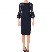 Ralph Lauren Dress Navy Blue Sequined-Trimmed Jersey Sheath Dress 6 10 - $65.56