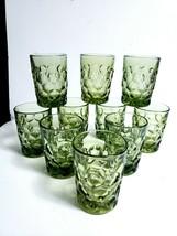 Vtg Imperial Glass Ohio Provincial Green8 Oz Flat Tumblers Star Base -S... - $49.50