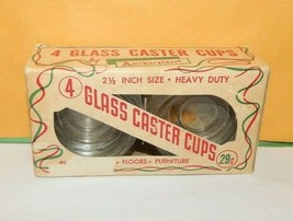 Vintage Box of Anchor Hocking Glass Caster Cups 2.5 inch Heavy Duty - $19.75