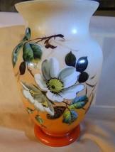 Antique Mount Washington Glass Large Vase Hand Painted Florals Orange to... - $175.00