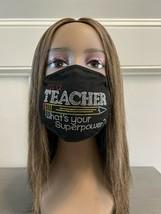 Teacher Superpower Rhinestone Bling Face Mask - $18.32