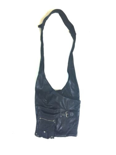 Black Buttery Leather Viva Of California Shoulder Bag Hobo Purse Retro USA Made