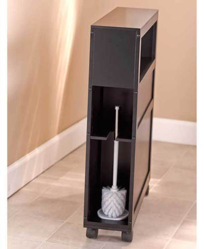 Black Slim Bathroom Storage Cabinet Rolling And Similar Items