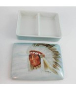 Hand Painted Native American Indian Chief Trinket Dish~Gladys Witt Numbe... - $45.00