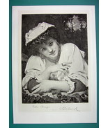 LOVELY MAIDEN Sporting Ring & Jewelry - Antique Photogravure Print - $9.45