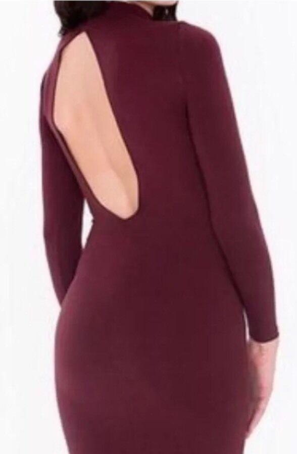 American Apparel Ryder Midi Dress Mock Neck Open Back Truffle Burgundy XS image 2