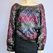 Lory's Vintage   Multi Color Sequin Long Sleeve Sweater Top Size S-M - $22.77