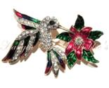 Hummingbird Bird Pin Brooch Flower Multicolor Crystal Enamel Gold Tone Spring