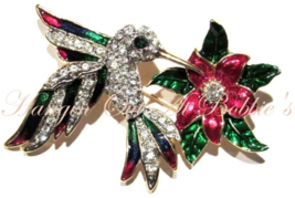 Hummingbird Bird Pin Brooch Flower Multicolor Crystal Enamel Gold Tone S... - $24.99