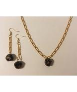 Beaded Earrings Necklace Set Black Gold Metal Chain Unique Handmade Pier... - $50.00