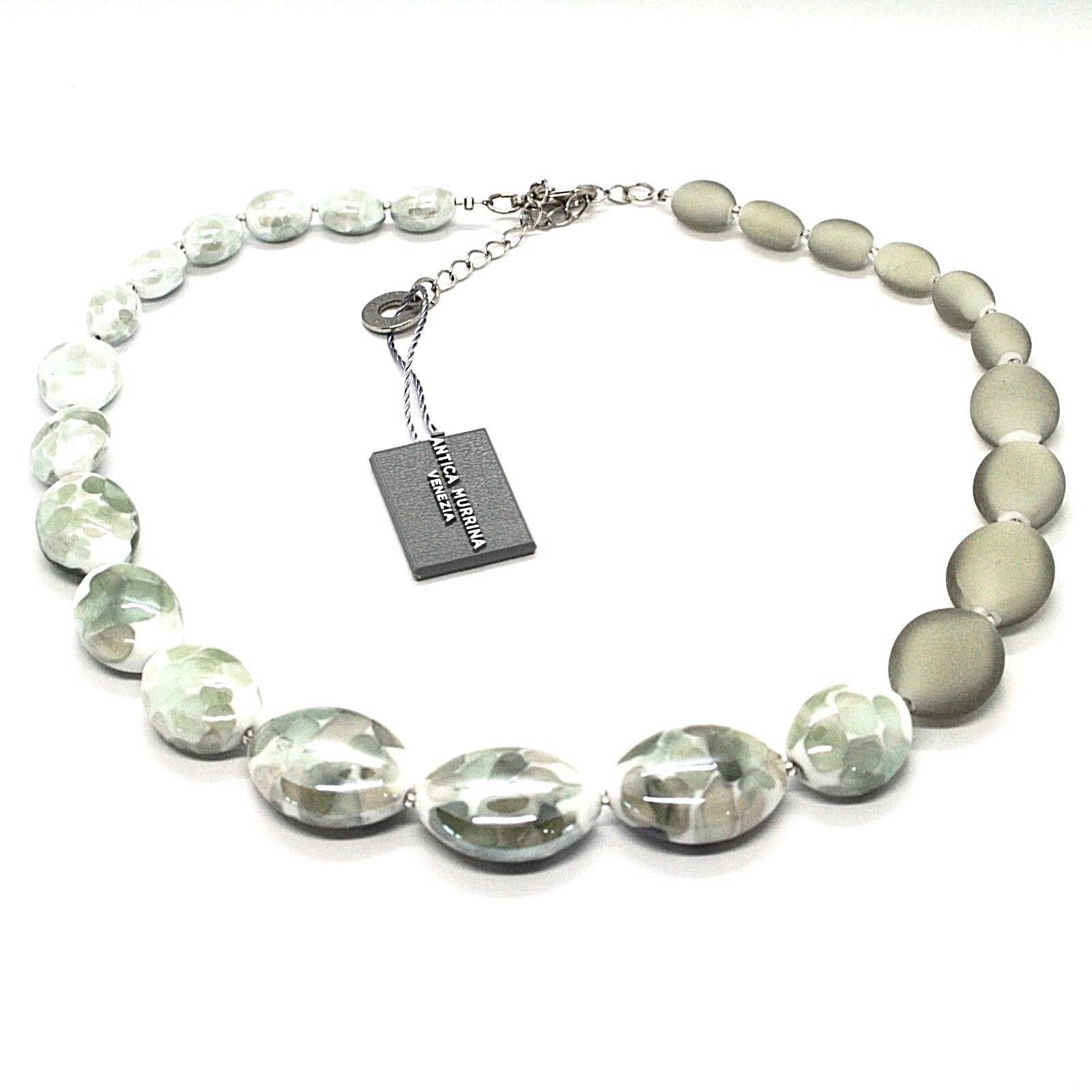 NECKLACE ANTICA MURRINA VENEZIA WITH MURANO GLASS GREY WHITE SILVER CO924A12