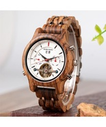 Automatic Skeleton Mechanical Watches Men Wooden Luxury Watch Self Wind ... - $169.00