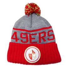 97123902803 Mitchell and Ness San Francisco 49ers High 5 Grey Cuffed Pom Knit Beanie.