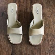 J. Crew Leather Wedge Heels Italian Made Sz 8 Open Toe Sandal Lgt Colore... - $51.38