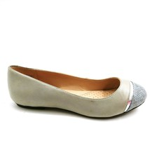 Lands' End Womens 475381 Leather Snakeskin Cap Toe Flat Shoes Gray 6.5B - $39.59