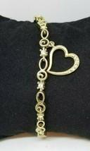 AVON Women's Rhinestone Heart Charm Gold-Tone Signed Tennis Bracelet  - $8.99