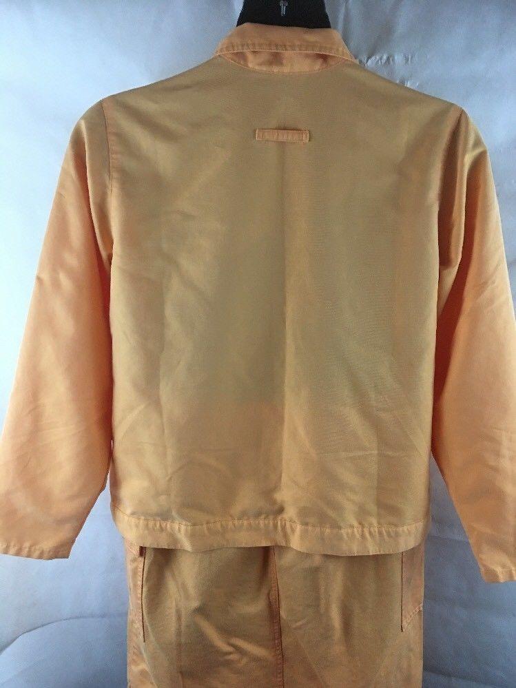 Denim & Co Shirt & Skirt Outfit Orange PEach SZ Large Pull On Skirt/Jacket