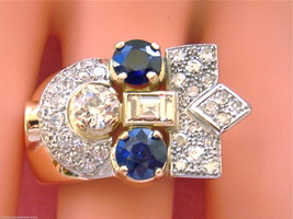 VINTAGE RETRO 2.55ctw DIAMOND 1.9ctw SAPPHIRE 18K COCKTAIL STATEMENT RIN... - $5,543.01