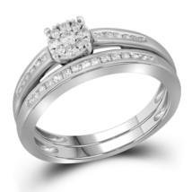10k White Gold Round Diamond Bridal Wedding Engagement Ring Band Set 1/3 Ctw - $400.00