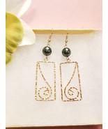 Rectangle Swirl Pearl earrings  - $20.00